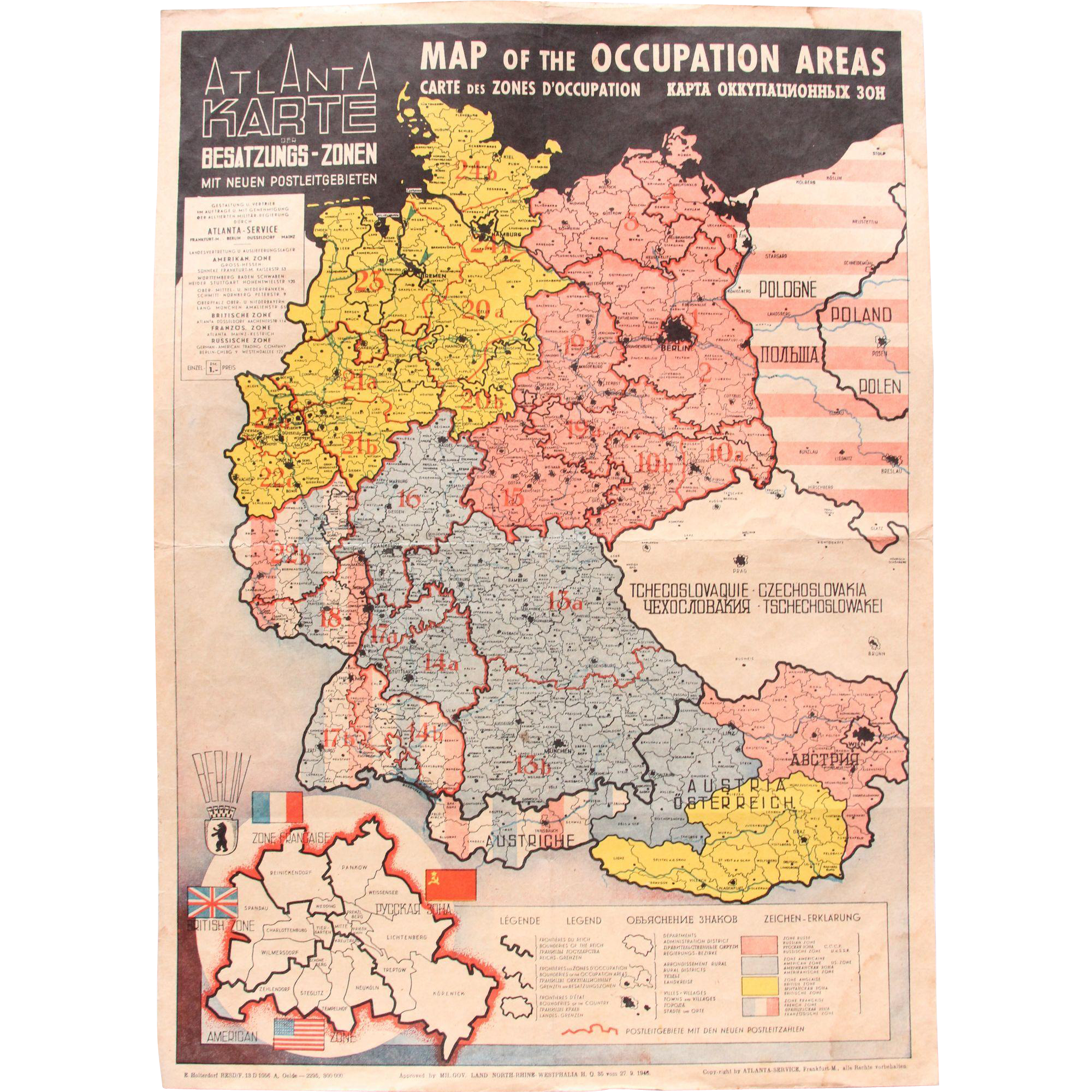 Germany Map After Ww2.1946 Map Of The Occupied Areas Germany Map After Ww2 Atlanta