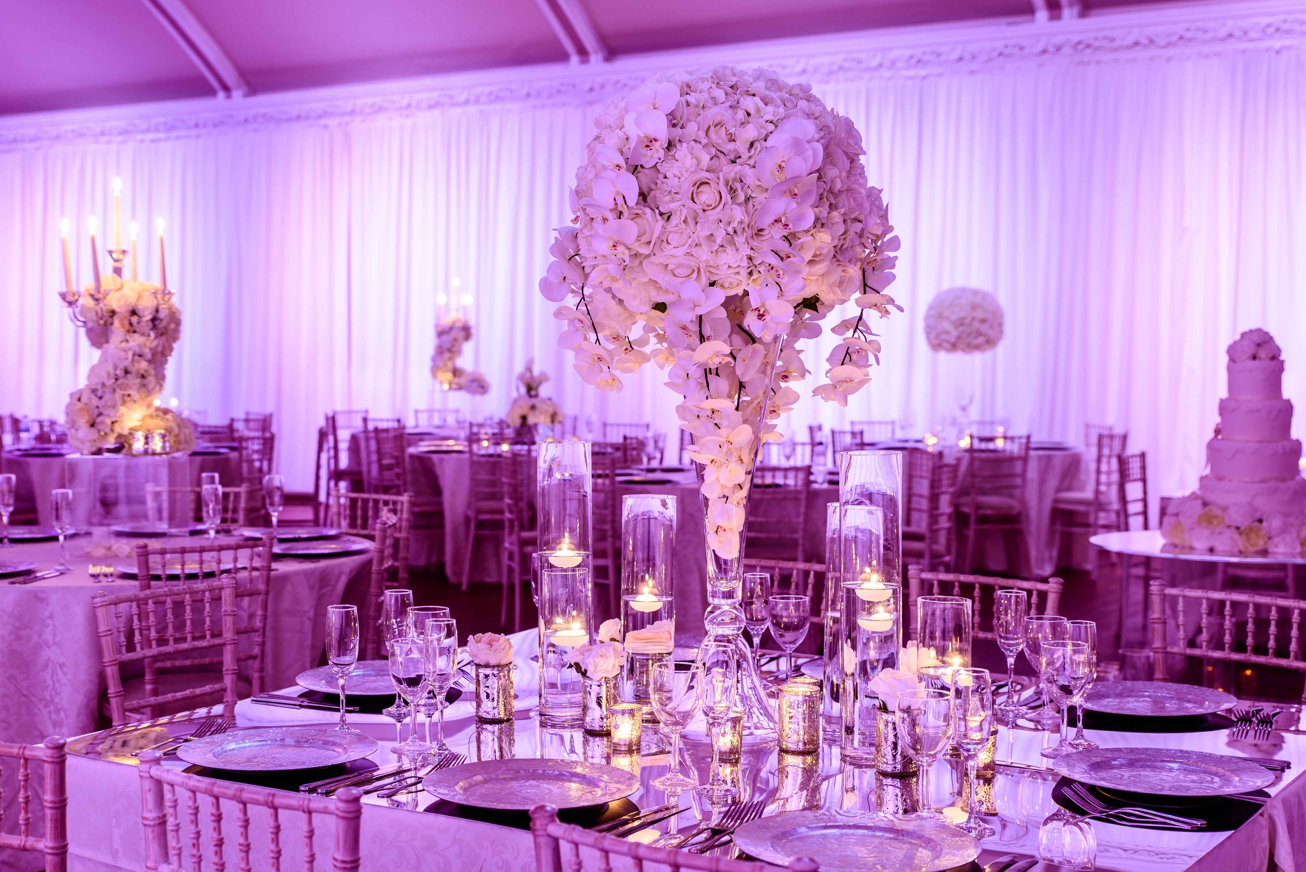 White / Ivory flower ball drapped with white orchids on a 80cm ...