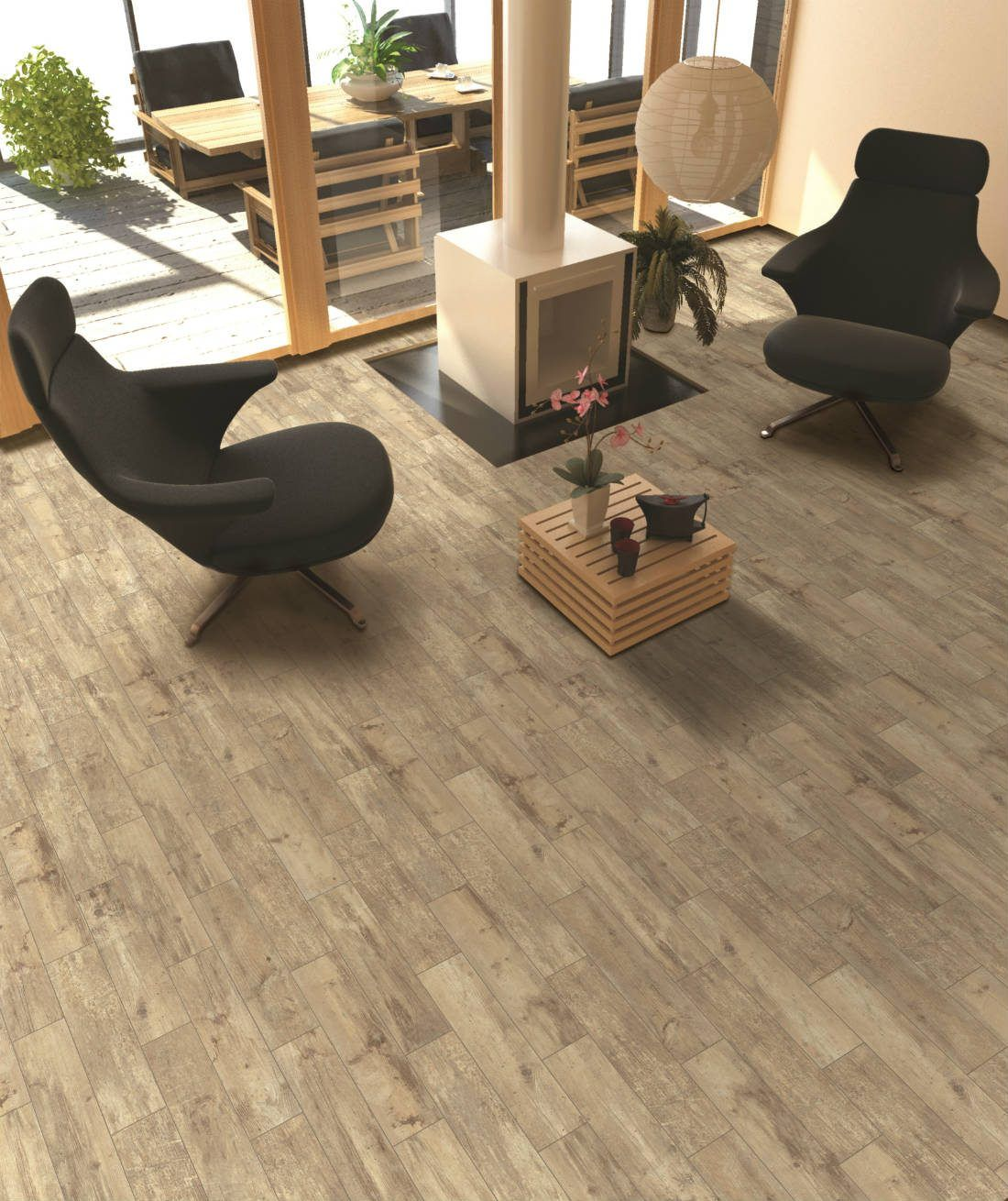 Wood Tone Ceramic Tile Is The Ideal Flooring For This