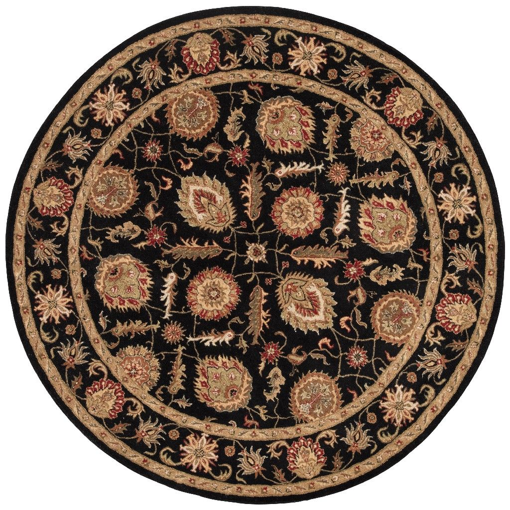 Jaipur Living Callisto Handmade Floral Black Red Round Area Rug