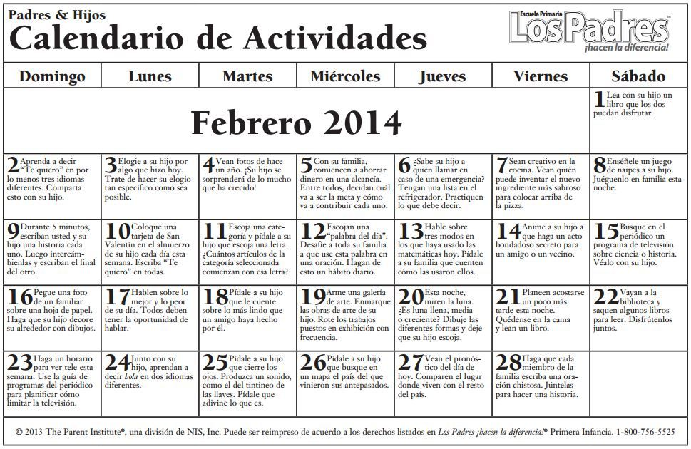 school calendar elementaryfebruary 2014 spanish Dual Language