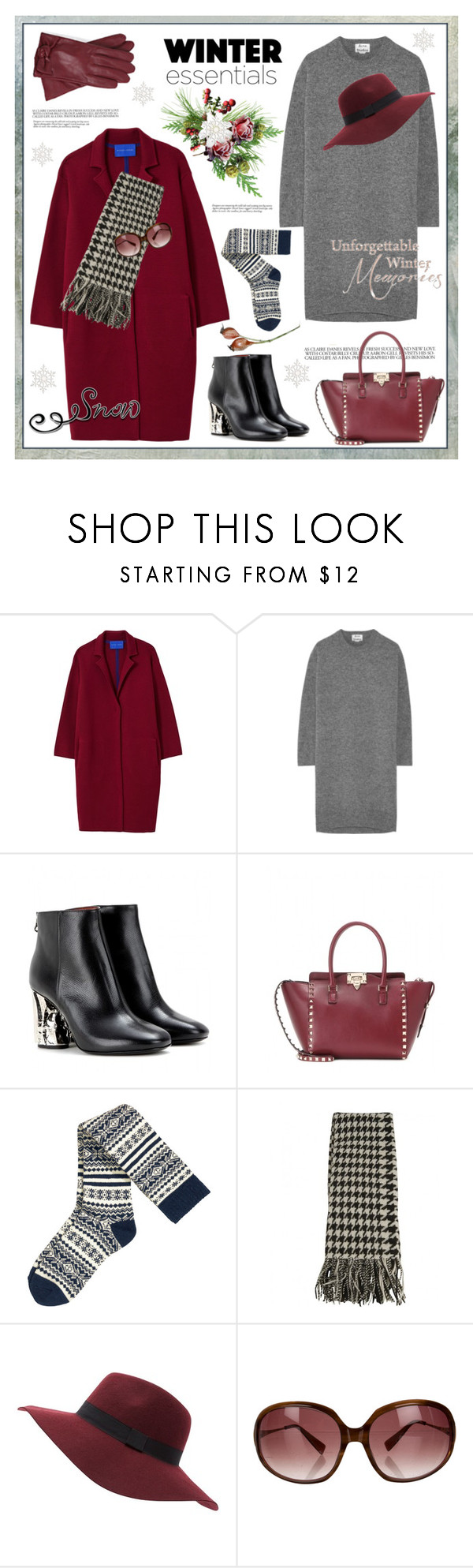 """Winter essentials"" by anne-irene ❤ liked on Polyvore featuring Winser London, Acne Studios, Jill Stuart, Valentino, H&M, Barbour and Oliver Peoples"