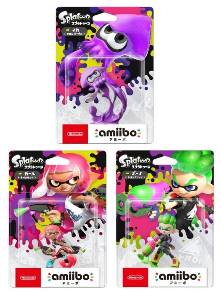 Amiibo Inkling Girl Boy Squid Set Splatoon2 Japan Nintendo 3ds Wii