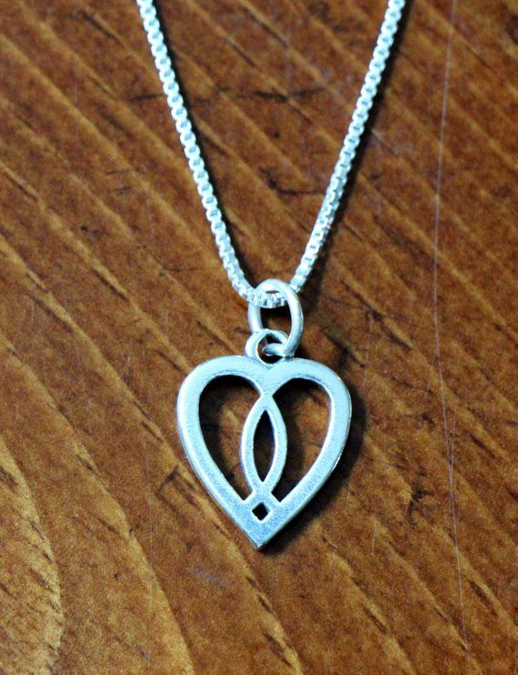 Sterling Silver Heart with Ichthus and Latin Cross Charm Pendant