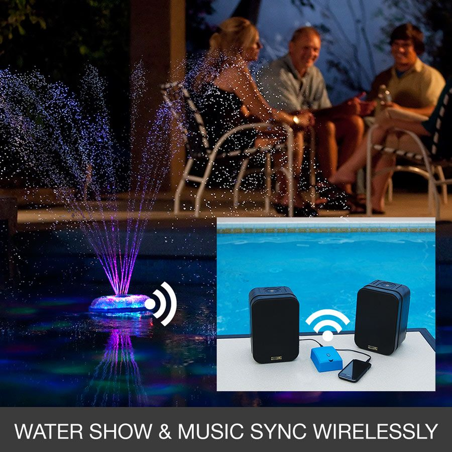 Music Sync Dancing Floating Pool Fountain And Light Show Pool Fountain Pool Party Supplies Cool Pools