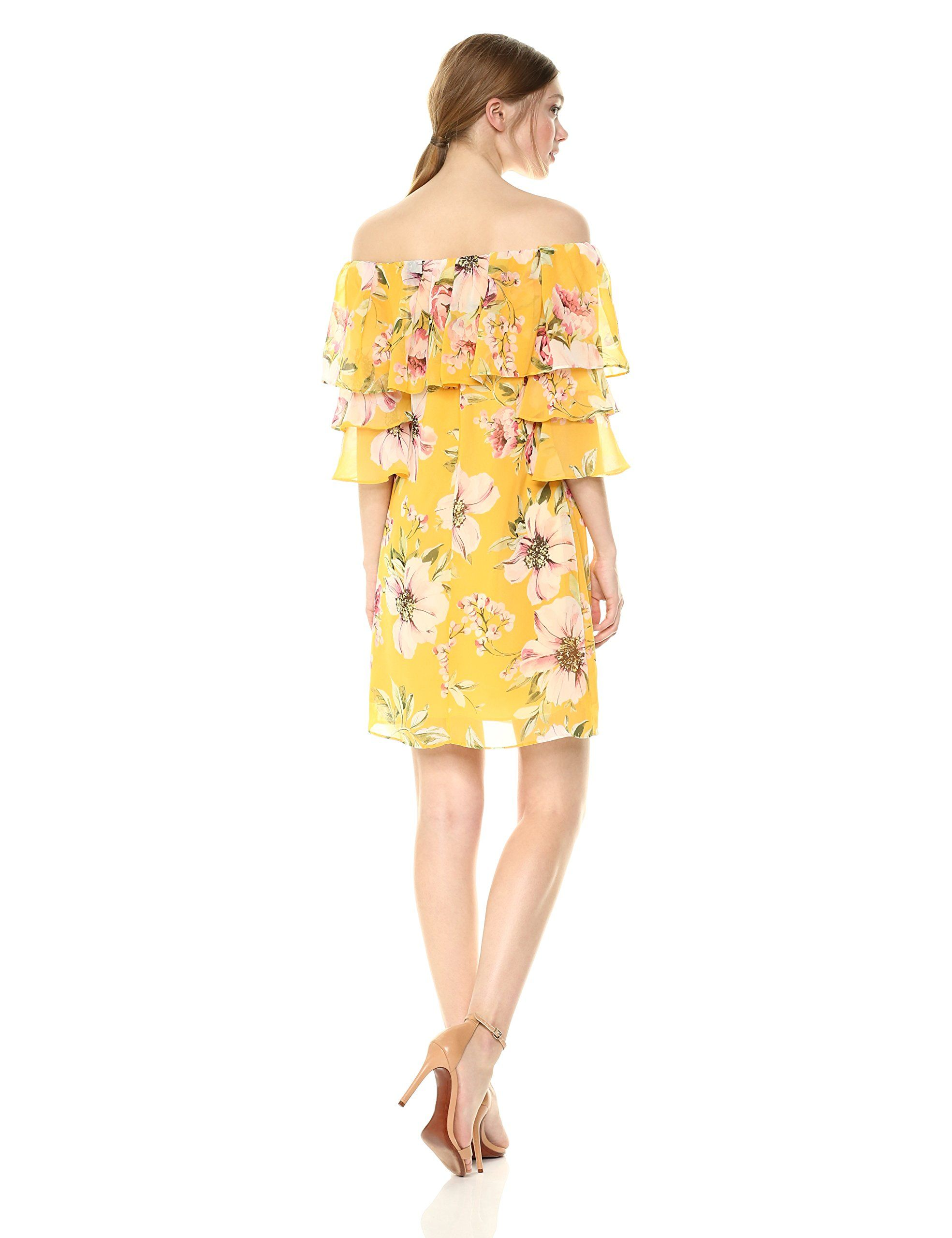 Vince Camuto Womens Printed Off The Shouler Shift Dress Yellow 12 Continue To The Product At The Image Link Note Amazon Affilia Dresses Shift Dress Fashion [ 2560 x 1969 Pixel ]
