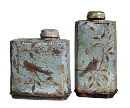 Uttermost 19547 FREYA, CONTAINERS, S/2 by Uttermost. $195.80. Length 4.75. Removable lids. Height 15.5. Width 8. Distressed light sky blue ceramic with antique khaki undertones. These ceramic containers feature a distressed, crackled light sky blue finish with antiqued khaki undertones. Removable lids. Sizes: Sm-11x12x5, Lg-8x16x5Material Ceramic
