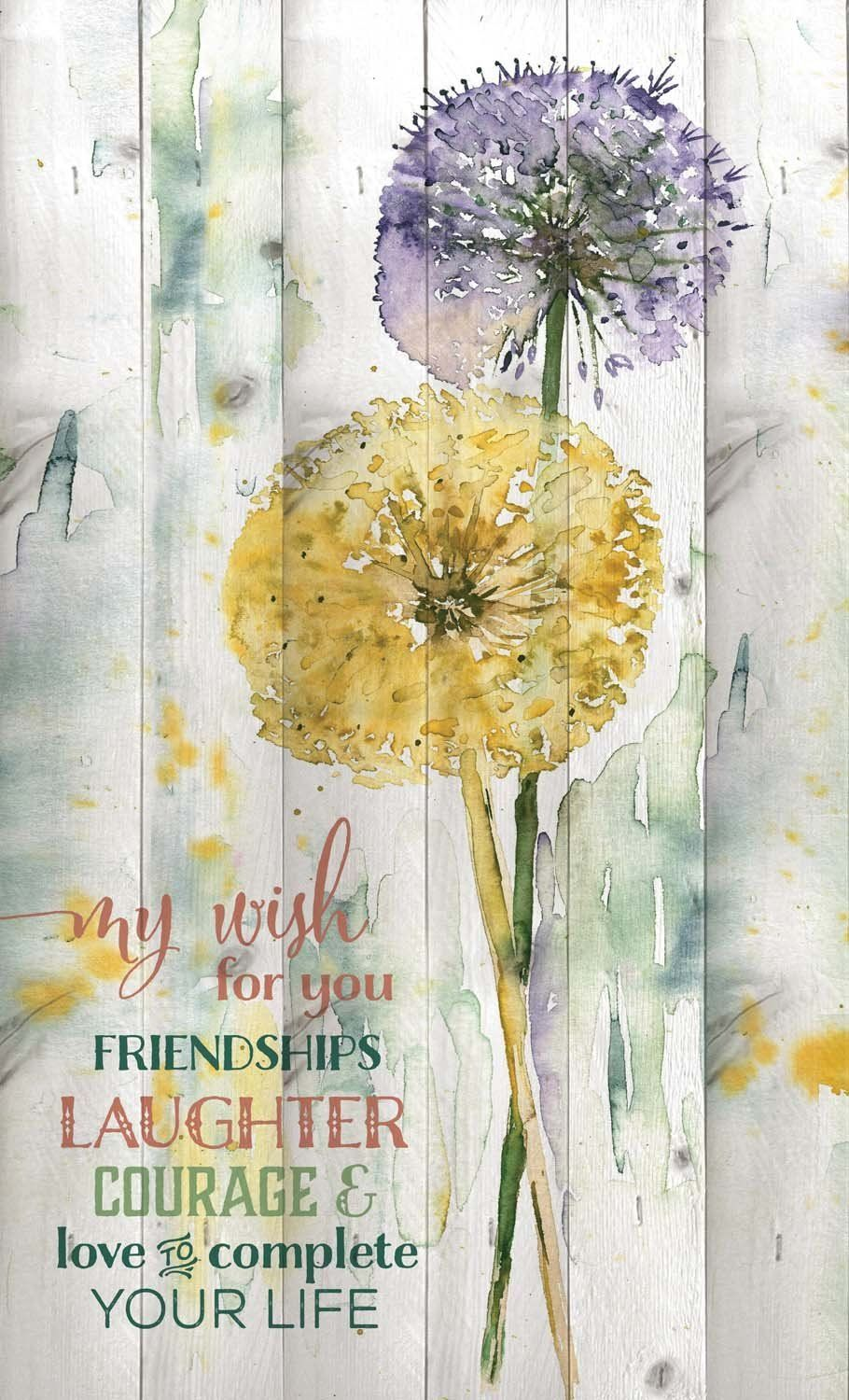 My Wish for You Watercolor Dandelion Design 15 x 9 Wood Lath Wall ...