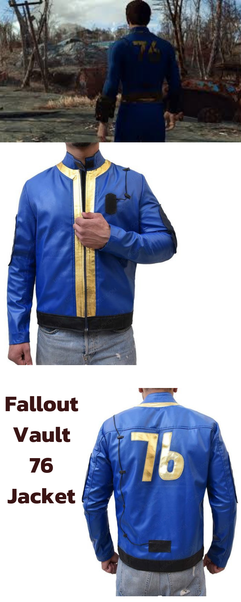 Video Game Fallout 76 Blue Leather Jacket | Crawl out through the