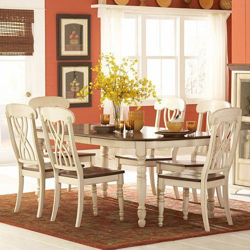 7 Piece Extendable Dining Set Distressed White And Cherry