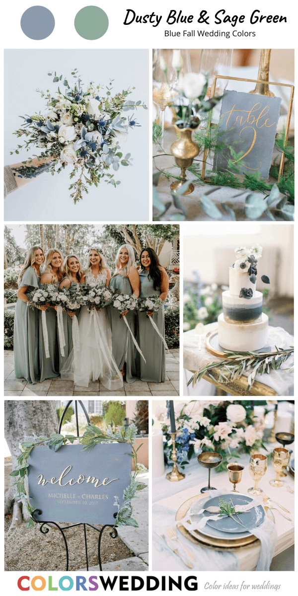 Top 8 Blue Fall Wedding Color Palettes