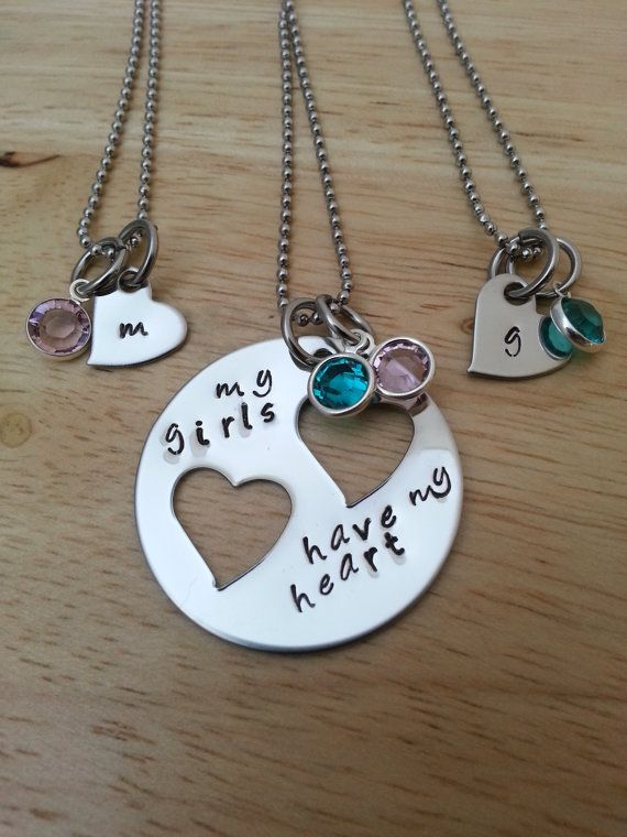 Hand Stamped Personalized Mother Daughter Necklaces My Girls