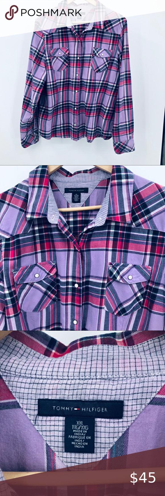 Tommy Hilfiger Women Plaid Purple Pearlsnap Shirt Tommy Hilfiger Women S Purple Plaid Shirt Pearl Snap F Tommy Hilfiger Women Purple Plaid Shirt Tommy Hilfiger [ 1740 x 580 Pixel ]