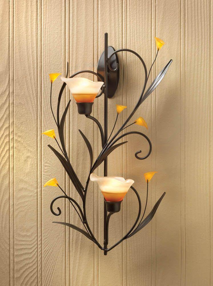 Amber Lilies Candle Wall Sconce Candelabros De Pared Decoracion En Hierro Faroles Decorativos
