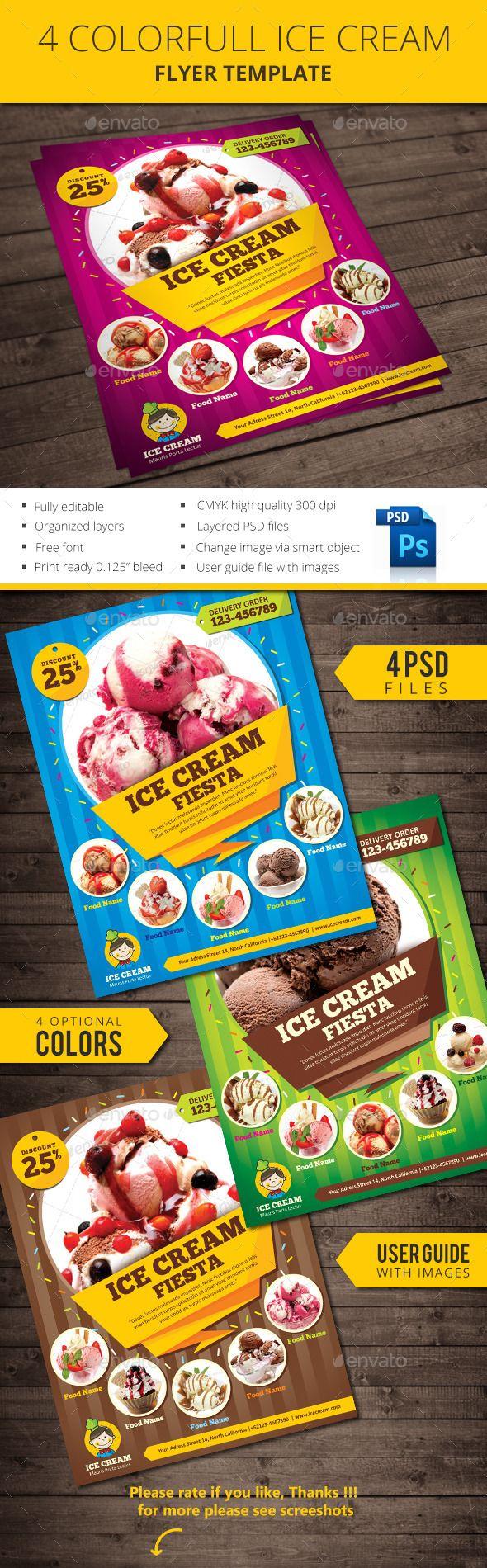ice cream flyer template commerce flyers prodesigner pinterest