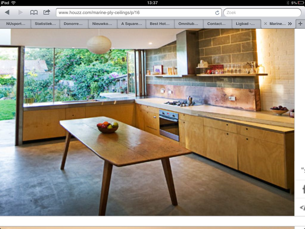 Kitchen Concrete Floor Ideas Part - 24: Plywood Kitchen Doors, Copper Splashback, Polished Concrete Floor