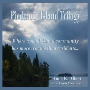 Logo for the Piedmont Island Trilogy series...a small island community that has more trouble than residents.