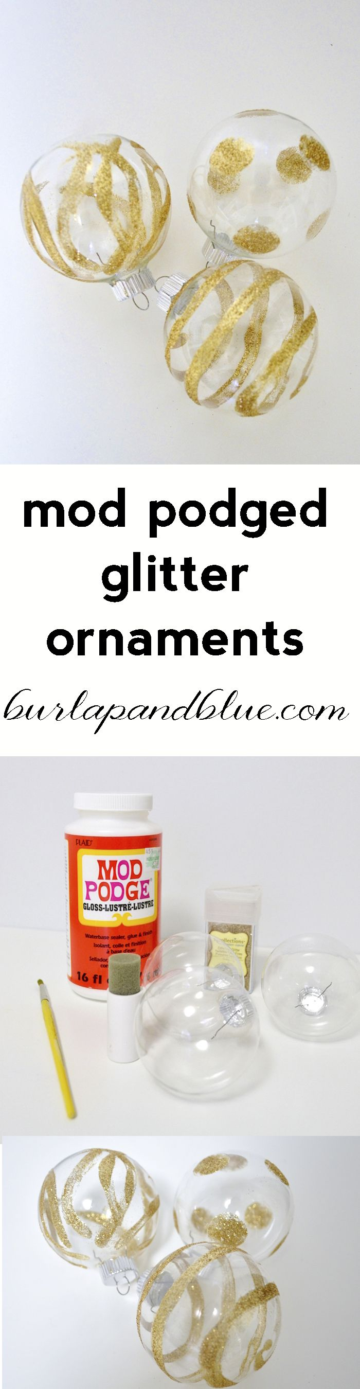 mod podged glitter ornament tutorial Glitter ornaments