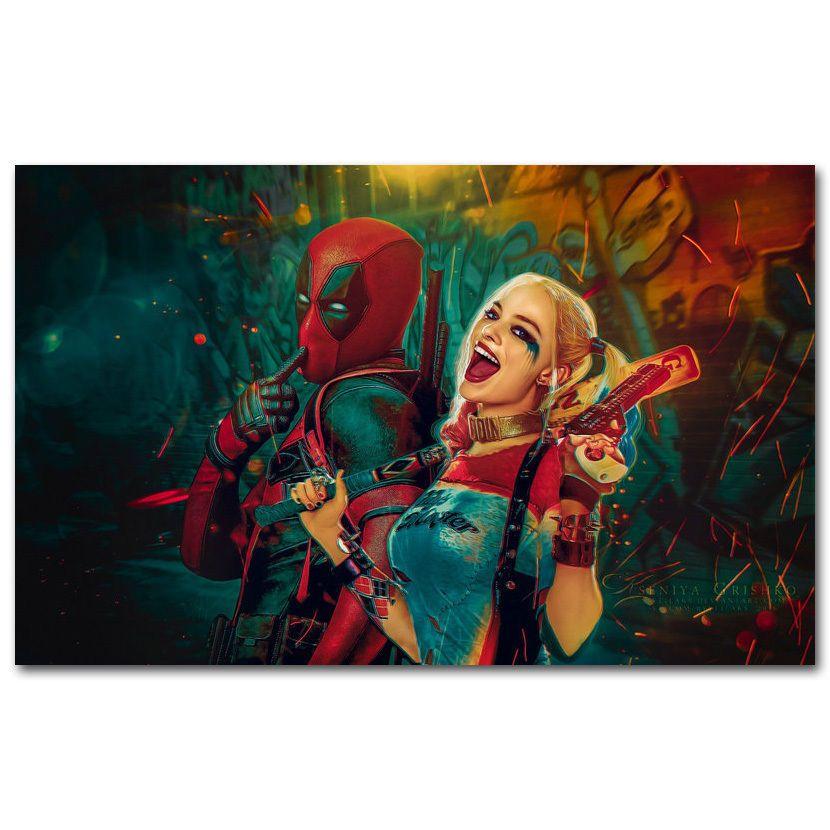 Canvas Deadpool and Harley Quinn Superheroes Comic Movie Silk Art Print Poster