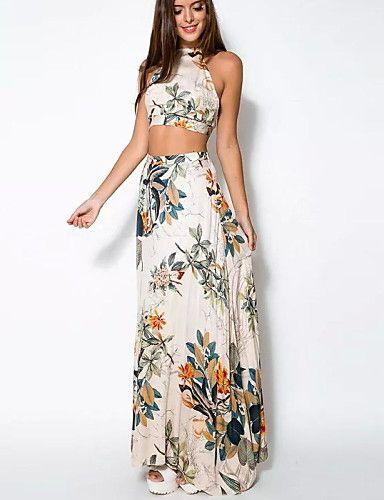 6fead81cc0 De las mujeres Corte Bodycon Vestido Playa Floral Maxi Con Tirantes Algodón  4489703 2017 –  7.99