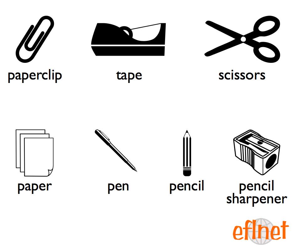 Basic Office Supplies - Worksheets   EFLnet   EFL/ESL Vocabulary ...