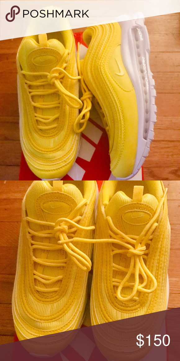 YELLOW NIKE AIR MAX 97 SIZE 8.5 IN