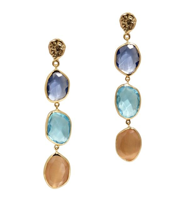 Imagine a mystical world populated by gentle creatures seen only in fairy tales. Pretty gems in pale pastel colors give these earrings a soft, ethereal glow reminiscent of this magical realm. Made from recycled brass, iolite, blue topaz and peach moonstones, these dangle earrings are both fanciful and stylish.