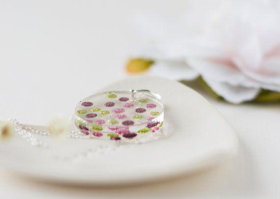 Polka Dot Necklace - Resin Necklace - Pink Necklace , Purple Necklace , Spotty Necklace , Glittery Necklace , Kawaii , Pink Polka Dots