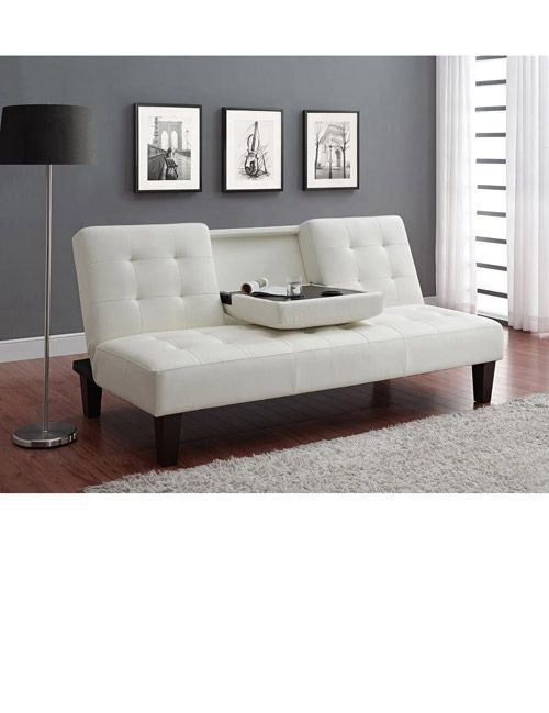 White Futon With Cup Holder