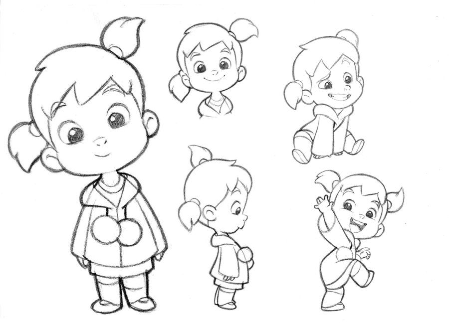 Drawing Animation Character Design : Little girl character sketches test for mercury filmworks