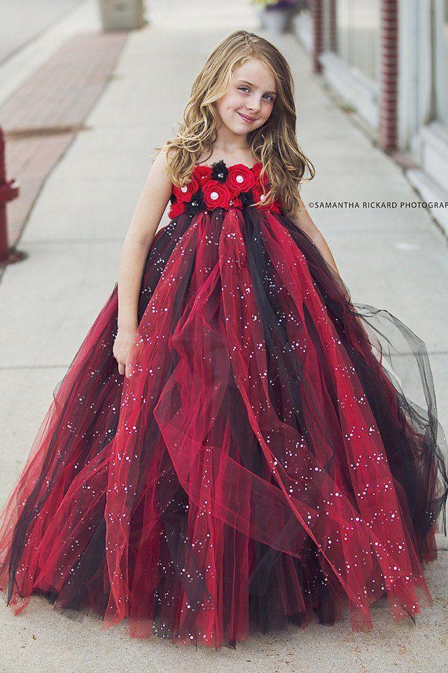 5f88beba Black and Red Flower Girl Dress-Glitter Tulle Dress Wedding Dress Toddler  Dress