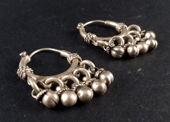 Sterling Silver Traditional Design Ethnic Earrings From Rajasthan Indian Jewelry Tribal