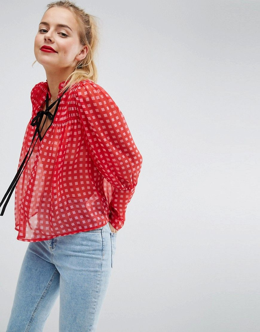 ASOS Bright Gingham Smock Blouse with Contrast Tie - Multi