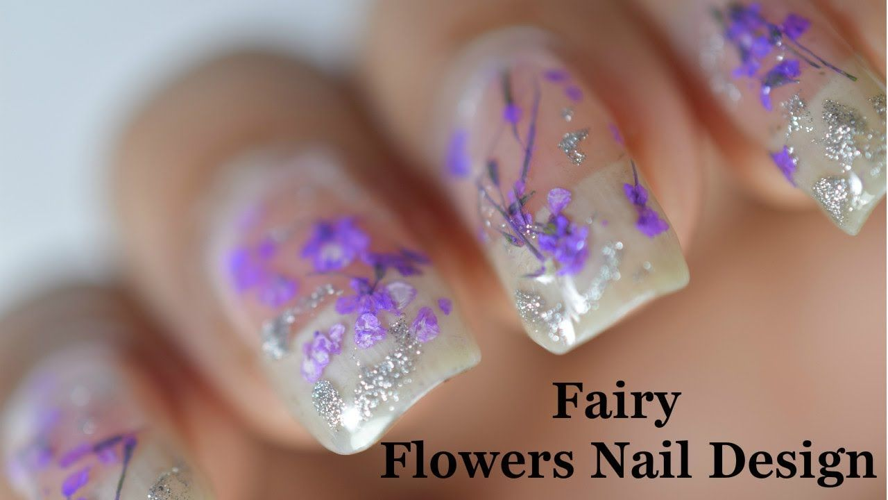 Dried fairy flowers nail design | Nails Nails Nails | Pinterest ...