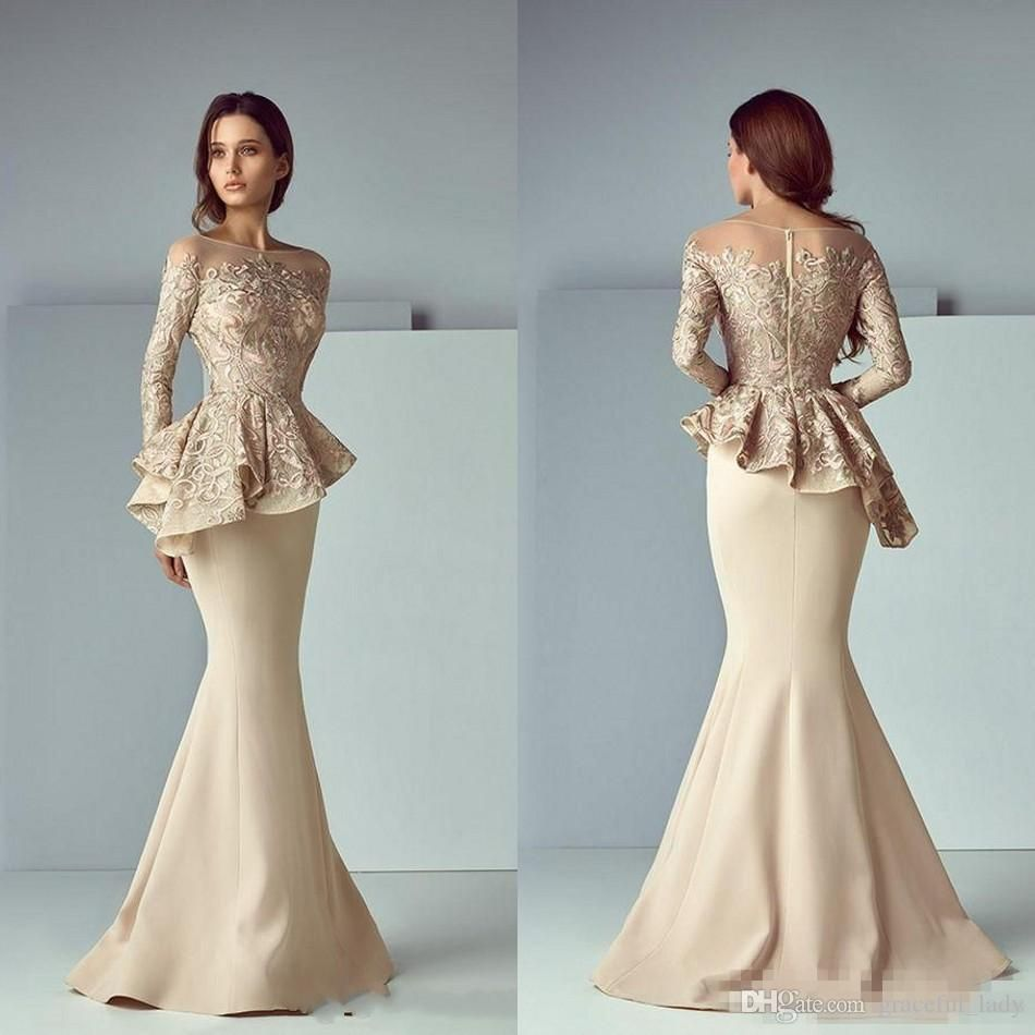 Champagne lace stain peplum long evening formal wear dresses