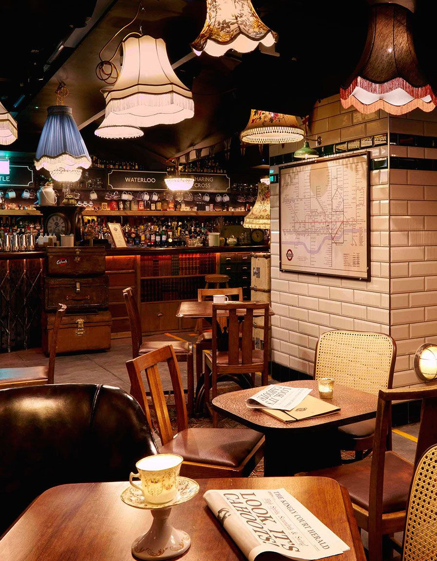Once used by Londoners seeking safety during the Blitz, Cahoots taps into its roots and reinterprets the space as a 1940s Underground station complete with old-school train carriage seats.