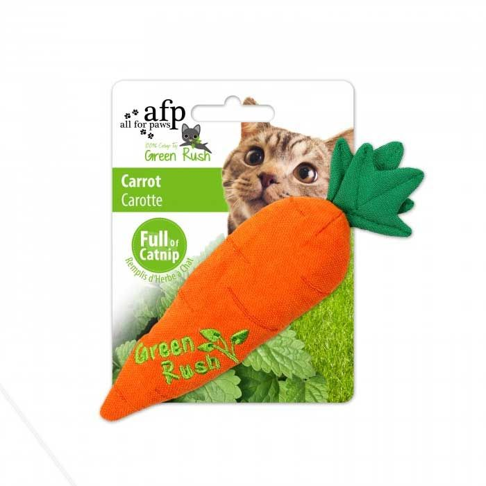 All for Paws Green Rush Carrot Katzenspielzeug mit Catnip