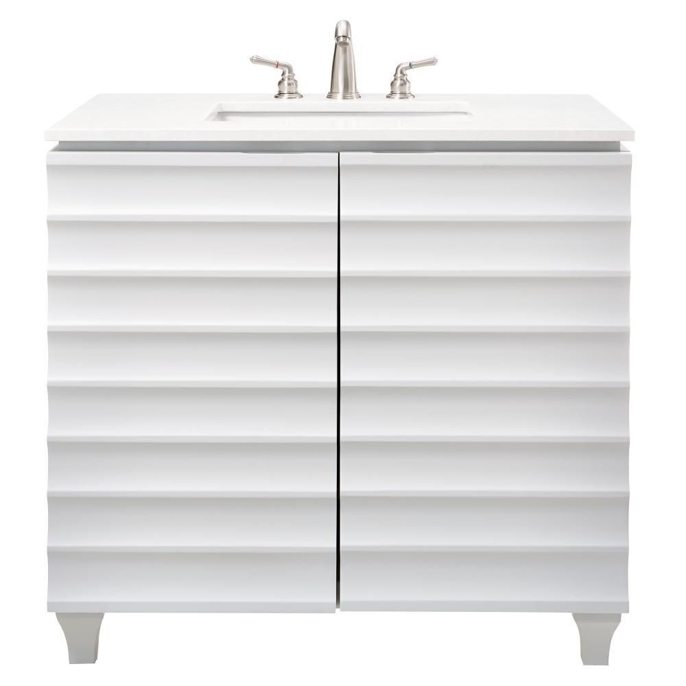 Home Decorators Collection Darby 36 in. W Single Vanity in Dove Grey with Engineered Stone Vanity Top in White with White Basin
