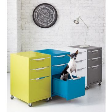 Yellow and blue painted file cabinets, home office organization ...