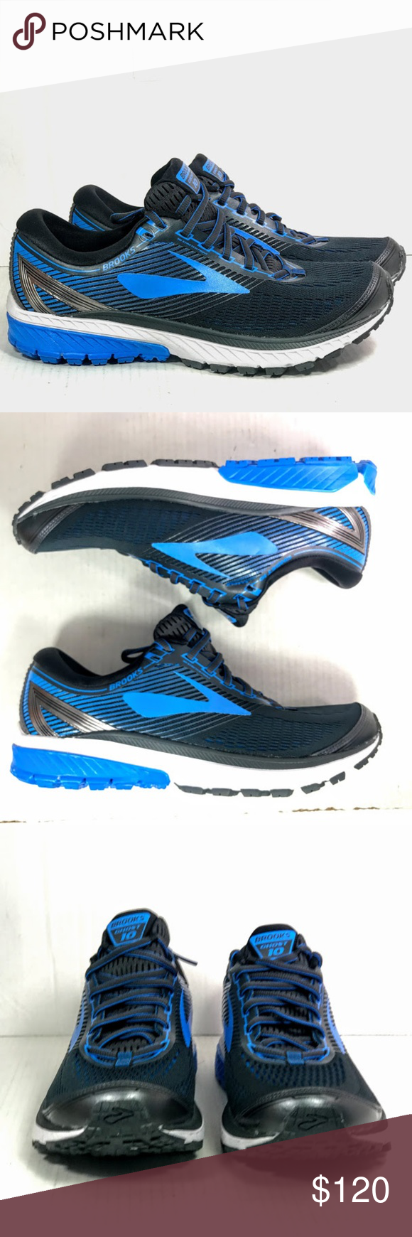 bdd55024567 Brooks Men s Ghost 10 Ebony Blue Black 10.5 Brooks Men s Ghost 10 Ebony Metallic  Charcoal