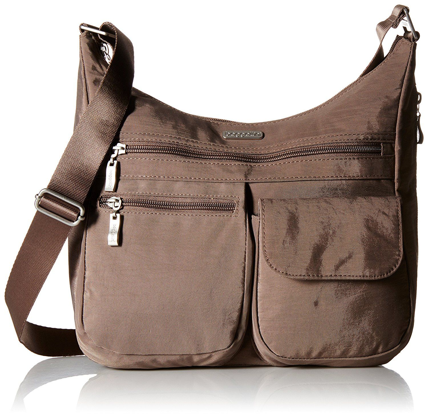 Baggallini Everywhere Lightweight Crossbody Bag Multi Pocketed Ious Water Resistant Travel Purse With Rfid Wristlet