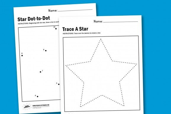Star Tracing & Dot-to-Dot Worksheets (free; From Paging