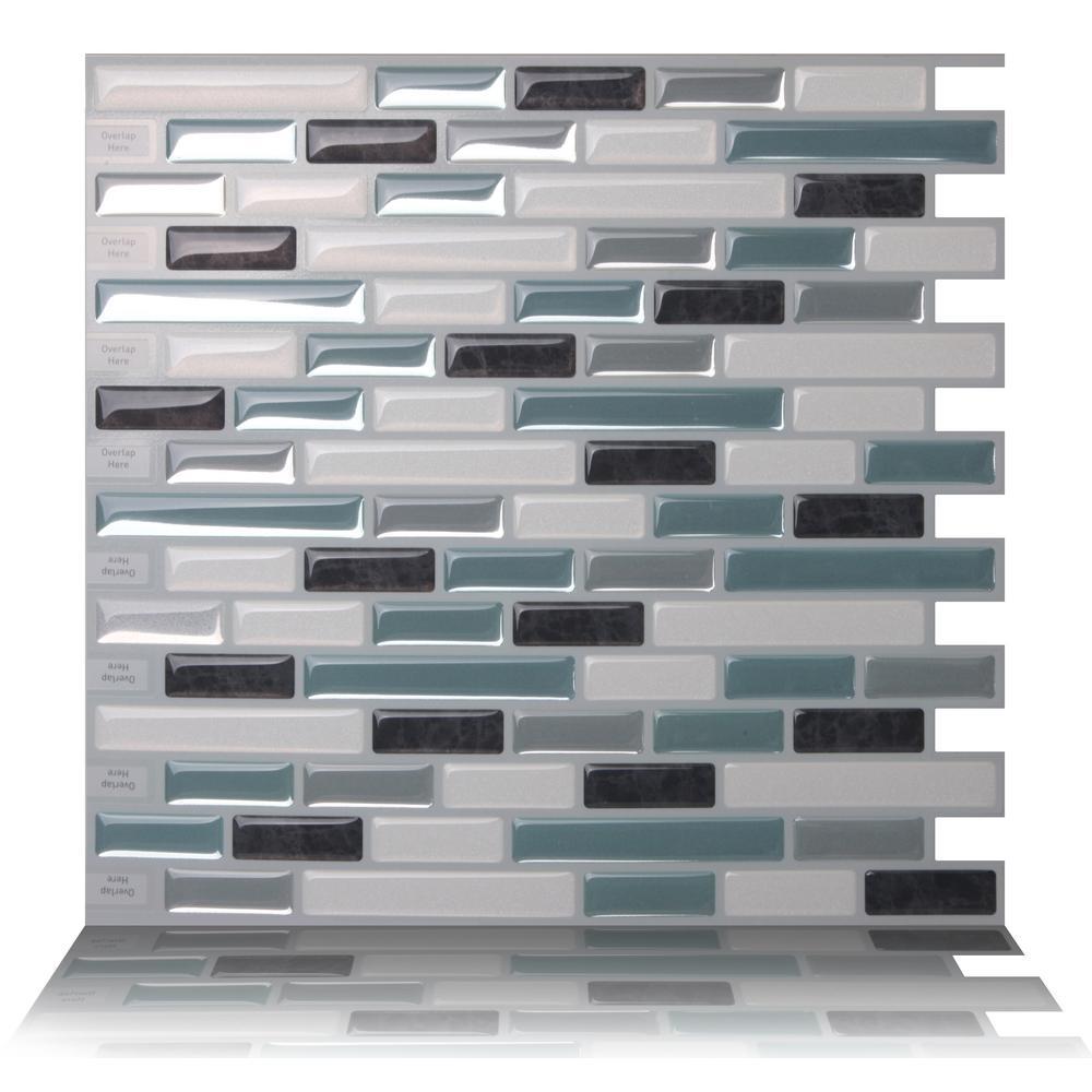 Tic Tac Tiles 10-Sheet Peel and Stick Self Adhesive Removable Stick On Kitchen Backsplash Bathroom 3D Wallpaper Tiles in Subway White