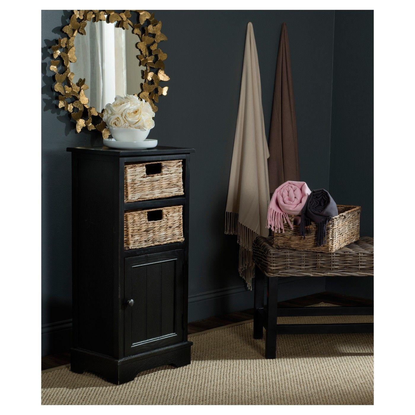 Crabbe Storage Cabinet Vintage  Safavieh #Pine #Ad #Rattan #Baskets