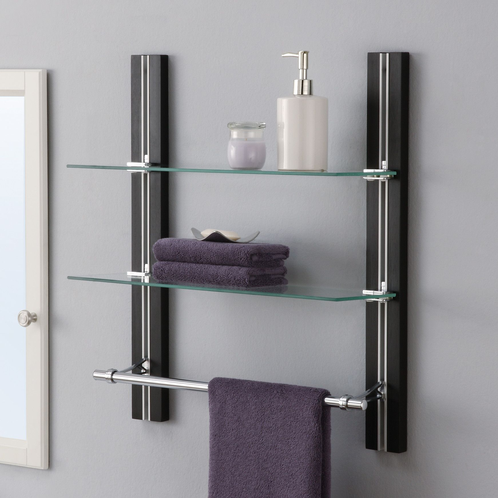 OIA W X H Two Tier Bathroom Shelf With Towel Bar - Bathroom wall shelf with towel bar for bathroom decor ideas