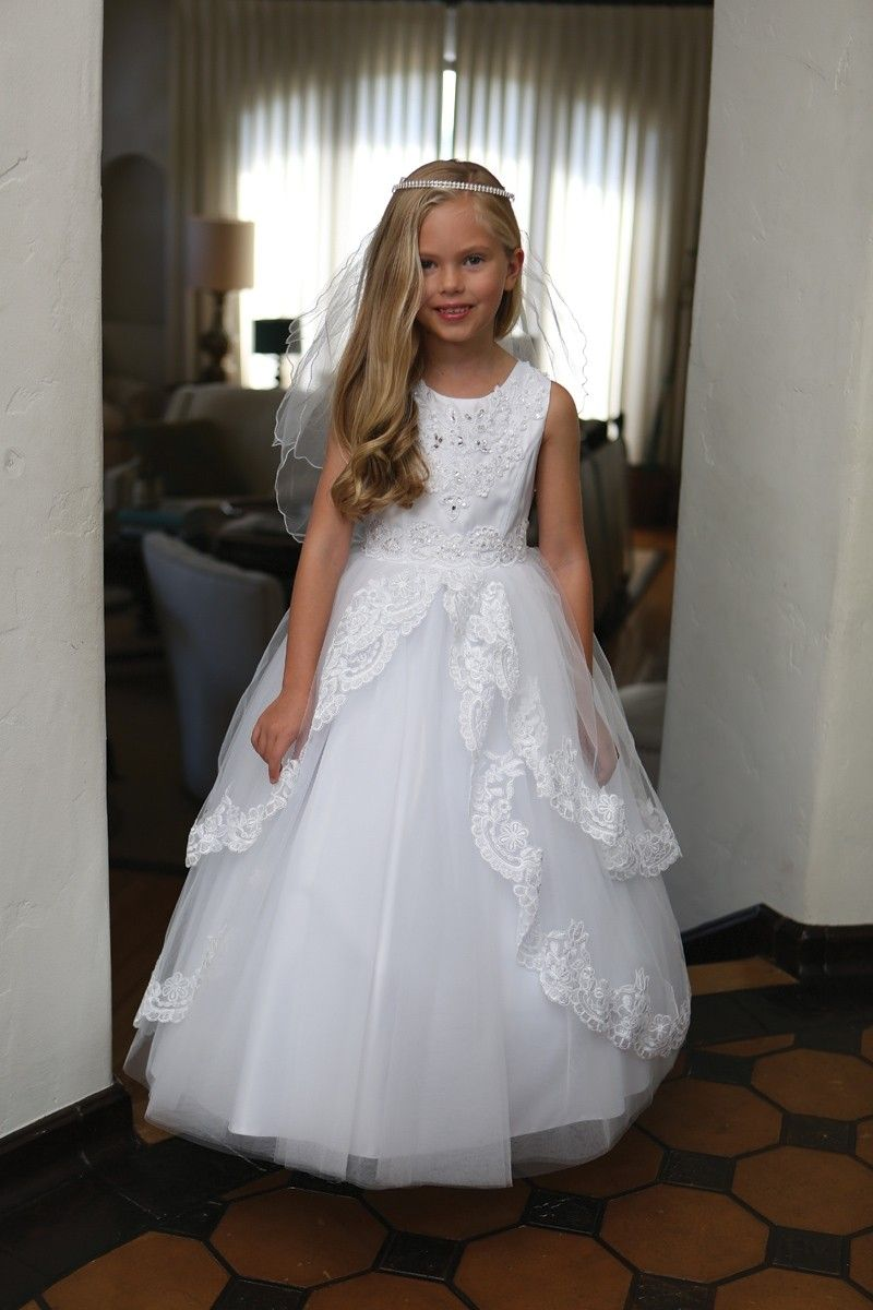 dc2e0c6763d1 Satin First Communion Dress with Layered Lace Skirt | First Holy ...