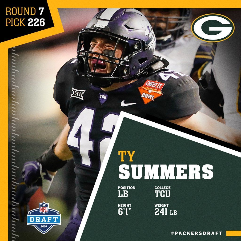 Green Bay Packers On Instagram With The 226th Pick In The 2019 Nfldraft The Packers Select Tcu Lb Ty Summers Packersdraft Nfl Packers Green Bay Packers