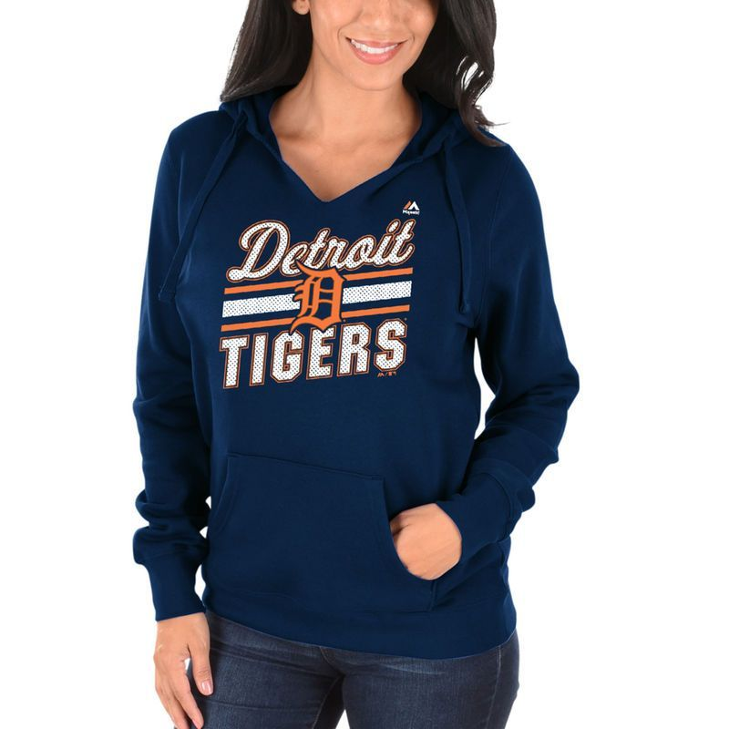 e3edee66 Detroit Tigers Majestic Women's Prime Example Pullover Hoodie - Navy ...