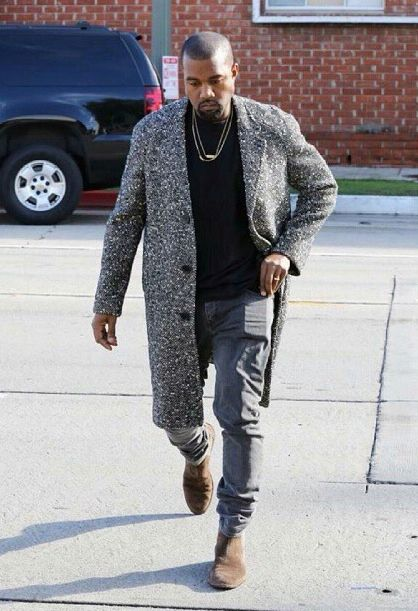 28260cc255698 1 Kanye West s New York City Saint Laurent Black and White Wool Blend  Raglan Sleeve Coat