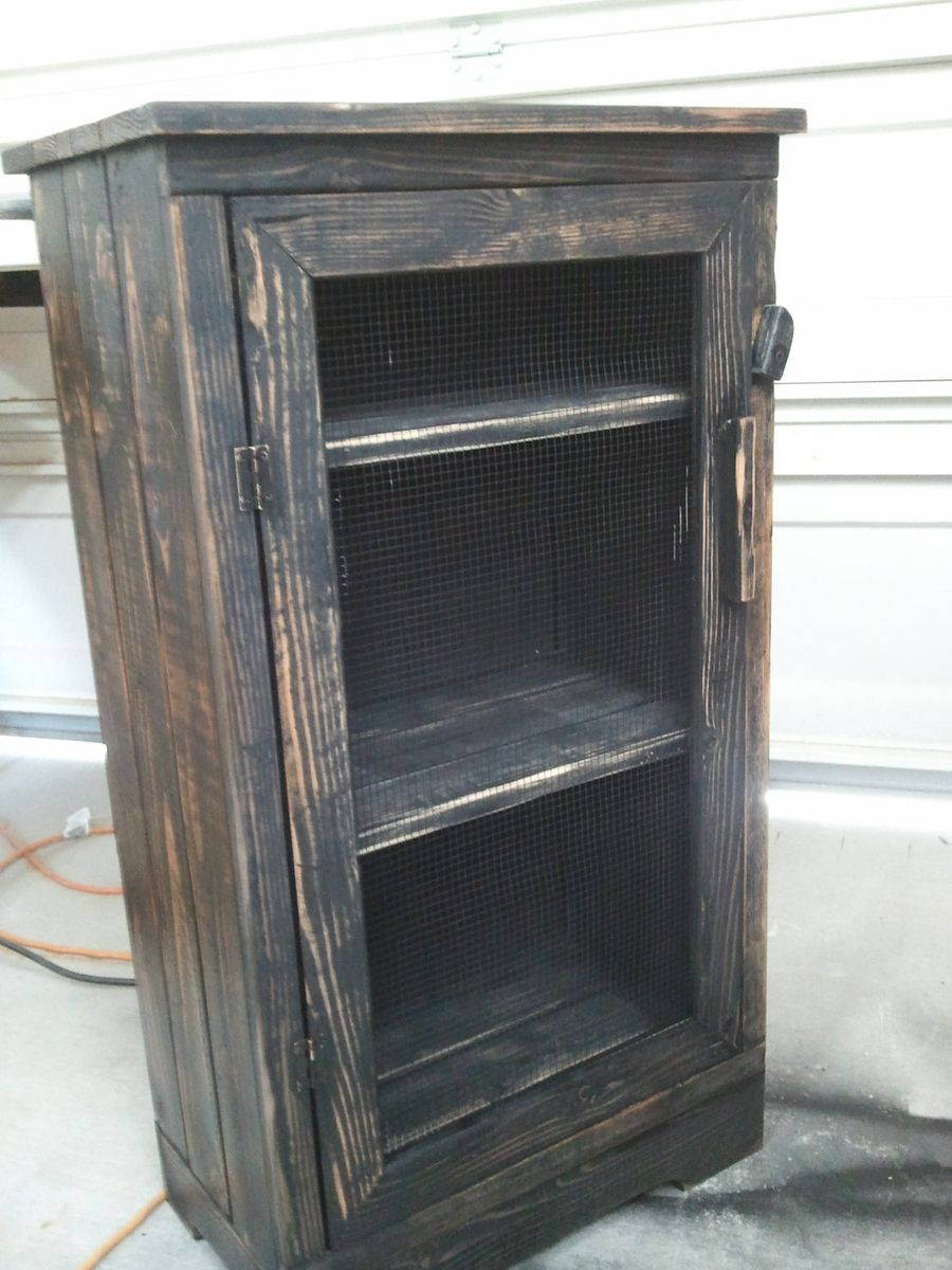 Black Distressed Wood Jelly Storage Cabinet